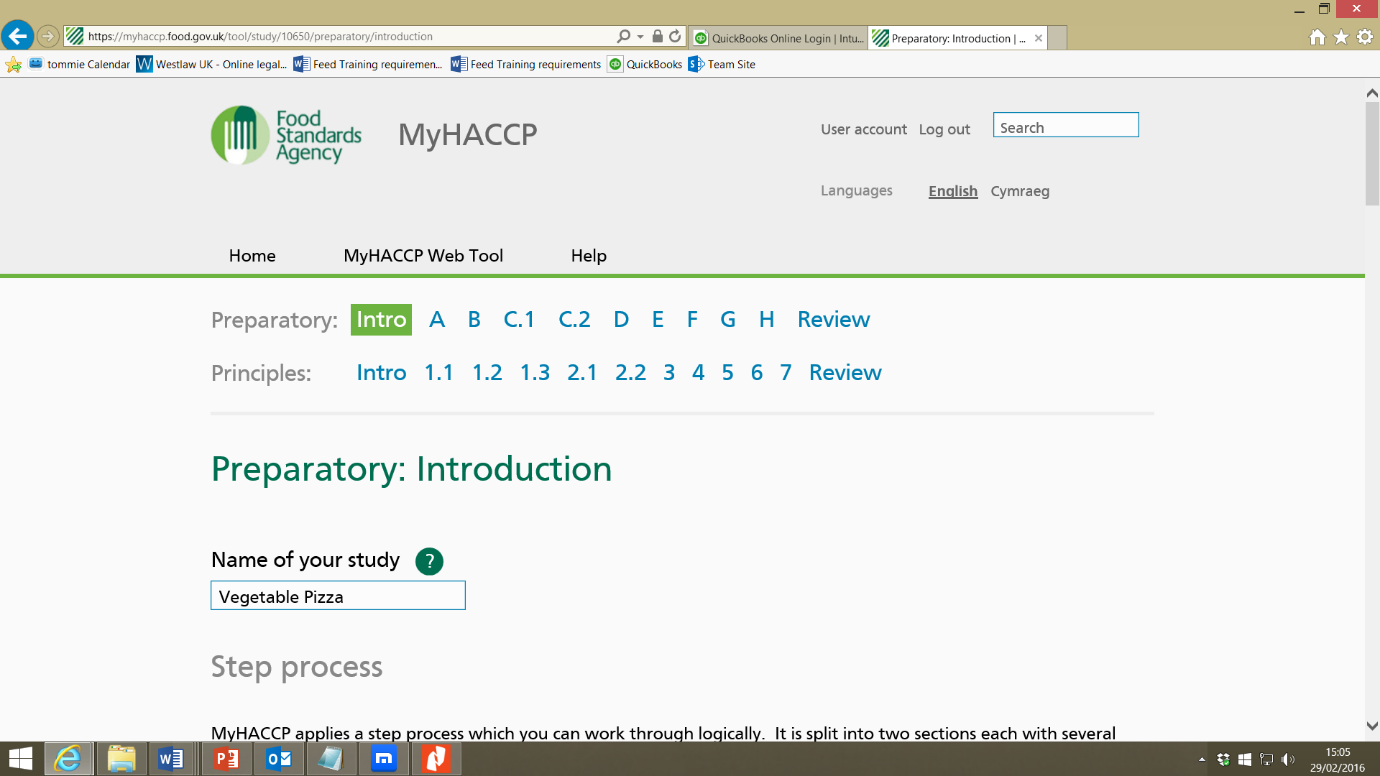 Screenshot of MyHACCP tool web page showing links to each preparatory stage and each HACCP principle