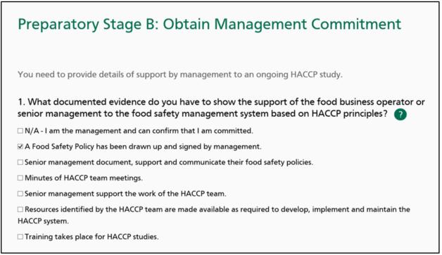 Screenshot of MyHACCP: Management commitment